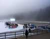 Conditions on foggy shooting place after cancelation of the men individual race of IBU Biathlon World Cup in Pokljuka, Slovenia. Men 20km individual race of IBU Biathlon World cup 2018-2019 should be held in Pokljuka, Slovenia, on Wednesday, 5th of December 2018.