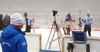 Finnish team coach Jonne Kahkonen, Tero Seppala of Finland and Tuomas Gronman of Finland during foggy zeroing before start of the men individual race of IBU Biathlon World Cup in Pokljuka, Slovenia. Men 20km individual race of IBU Biathlon World cup 2018-2019 was held in Pokljuka, Slovenia, on Wednesday, 5th of December 2018.