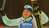Winner Yuliia Dzhima of Ukraine celebrates her victory in the women individual race of IBU Biathlon World Cup in Pokljuka, Slovenia. Women 15km individual race of IBU Biathlon World cup 2018-2019 was held in Pokljuka, Slovenia, on Thursday, 6th of December 2018.
