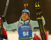 Winner Yuliia Dzhima of Ukraine celebrates her victory in the women individual race of IBU Biathlon World Cup in Pokljuka, Slovenia. Women 15km individual race of IBU Biathlon World cup 2018-2019 was held in Pokljuka, Slovenia, on Thursday, 6th of December 2018.