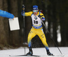 Sebastian Samuelsson of Sweden competes during the men individual race of IBU Biathlon World Cup in Pokljuka, Slovenia. Men 20km individual race of IBU Biathlon World cup 2018-2019 was held in Pokljuka, Slovenia, on Thursday, 6th of December 2018.