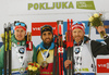 Winner Martin Fourcade of France (M), second placed Johannes Kuehn of Germany, (L) and and third placed Simon Eder of Austria (R) celebrate their medals won in the men individual race of IBU Biathlon World Cup in Pokljuka, Slovenia. Men 20km individual race of IBU Biathlon World cup 2018-2019 was held in Pokljuka, Slovenia, on Thursday, 6th of December 2018.