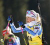 Kaisa Makarainen of Finland during zeroing before start of the women individual race of IBU Biathlon World Cup in Pokljuka, Slovenia. Women 15km individual race of IBU Biathlon World cup 2018-2019 was held in Pokljuka, Slovenia, on Thursday, 6th of December 2018.