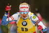 Kaisa Makarainen of Finland competes in the women individual race of IBU Biathlon World Cup in Pokljuka, Slovenia. Women 15km individual race of IBU Biathlon World cup 2018-2019 was held in Pokljuka, Slovenia, on Thursday, 6th of December 2018.