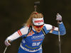 Venla Lehtonen of Finland competes in the women individual race of IBU Biathlon World Cup in Pokljuka, Slovenia. Women 15km individual race of IBU Biathlon World cup 2018-2019 was held in Pokljuka, Slovenia, on Thursday, 6th of December 2018.