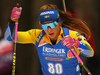 Anna Magnusson of Sweden competes in the women individual race of IBU Biathlon World Cup in Pokljuka, Slovenia. Women 15km individual race of IBU Biathlon World cup 2018-2019 was held in Pokljuka, Slovenia, on Thursday, 6th of December 2018.