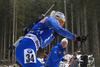 Mari Eder of Finland and coach of Finland Jonne Kahkonen during the women individual race of IBU Biathlon World Cup in Pokljuka, Slovenia. Women 15km individual race of IBU Biathlon World cup 2018-2019 was held in Pokljuka, Slovenia, on Thursday, 6th of December 2018.