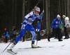 Venla Lehtonen of Finland and coach of Finland Jonne Kahkonen during the women individual race of IBU Biathlon World Cup in Pokljuka, Slovenia. Women 15km individual race of IBU Biathlon World cup 2018-2019 was held in Pokljuka, Slovenia, on Thursday, 6th of December 2018.
