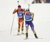 Winner Yuliia Dzhima of Ukraine competes in the women individual race of IBU Biathlon World Cup in Pokljuka, Slovenia. Women 15km individual race of IBU Biathlon World cup 2018-2019 was held in Pokljuka, Slovenia, on Thursday, 6th of December 2018.