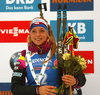 Third placed Marketa Davidova of Czech celebrates her medal won in the women individual race of IBU Biathlon World Cup in Pokljuka, Slovenia. Women 15km individual race of IBU Biathlon World cup 2018-2019 was held in Pokljuka, Slovenia, on Thursday, 6th of December 2018.