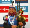 Third placed Marketa Davidova of Czech celebrates her medal won in the women individual race of IBU Biathlon World Cup in Pokljuka, Slovenia. Women 15km individual race of IBU Biathlon World cup 2018-2019 was held in Pokljuka, Slovenia, on Thursday, 6th of December 2018.