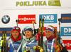 Winner Yuliia Dzhima of Ukraine (M), second placed Monika Hojnisz of Poland (L) and and third placed Marketa Davidova of Czech (R) celebrate their medals won in the women individual race of IBU Biathlon World Cup in Pokljuka, Slovenia. Women 15km individual race of IBU Biathlon World cup 2018-2019 was held in Pokljuka, Slovenia, on Thursday, 6th of December 2018.