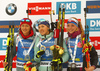 Winner Yuliia Dzhima of Ukraine (M), second placed Monika Hojnisz of Poland (L) and and third placed Marketa Davidova of Czech (R) celebrate their medals won in the women individual race of IBU Biathlon World Cup in Pokljuka, Slovenia. Women 15km individual race of IBU Biathlon World cup 2018-2019 was held in Pokljuka, Slovenia, on Thursday, 6th of December 2018.