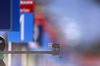 Biathlete shooting during zeroing before start of the men sprint race of IBU Biathlon World Cup in Pokljuka, Slovenia. Men sprint race of IBU Biathlon World cup 2018-2019 was held in Pokljuka, Slovenia, on Friday, 7th of December 2018.