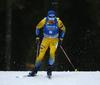 Jesper Nelin of Sweden competes during the men sprint race of IBU Biathlon World Cup in Pokljuka, Slovenia. Men sprint race of IBU Biathlon World cup 2018-2019 was held in Pokljuka, Slovenia, on Friday, 7th of December 2018.