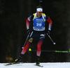 Tarjei Boe of Norway competes during the men sprint race of IBU Biathlon World Cup in Pokljuka, Slovenia. Men sprint race of IBU Biathlon World cup 2018-2019 was held in Pokljuka, Slovenia, on Friday, 7th of December 2018.