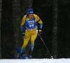 Sebastian Samuelsson of Sweden competes during the men sprint race of IBU Biathlon World Cup in Pokljuka, Slovenia. Men sprint race of IBU Biathlon World cup 2018-2019 was held in Pokljuka, Slovenia, on Friday, 7th of December 2018.