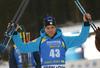 Second placed Antonin Guigonnat of France  celebrates  after the men sprint race of IBU Biathlon World Cup in Pokljuka, Slovenia. Men sprint race of IBU Biathlon World cup 2018-2019 was held in Pokljuka, Slovenia, on Friday, 7th of December 2018.