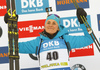 Third placed Justine Braisaz of France celebrates her medal won in the women sprint race of IBU Biathlon World Cup in Pokljuka, Slovenia. Women sprint race of IBU Biathlon World cup 2018-2019 was held in Pokljuka, Slovenia, on Saturday, 8th of December 2018.