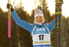 Winner Kaisa Makarainen of Finland celebrates her medal won in the women sprint race of IBU Biathlon World Cup in Pokljuka, Slovenia. Women sprint race of IBU Biathlon World cup 2018-2019 was held in Pokljuka, Slovenia, on Saturday, 8th of December 2018.