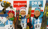 Winner Kaisa Makarainen of Finland (M), second placed Dorothea Wierer of Italy (L) and Justine Braisaz of France  (R) celebrate their medals won in the women sprint race of IBU Biathlon World Cup in Pokljuka, Slovenia. Women sprint race of IBU Biathlon World cup 2018-2019 was held in Pokljuka, Slovenia, on Saturday, 8th of December 2018.