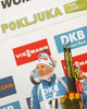 celebrate their medals won in the women sprint race of IBU Biathlon World Cup in Pokljuka, Slovenia. Women sprint race of IBU Biathlon World cup 2018-2019 was held in Pokljuka, Slovenia, on Saturday, 8th of December 2018.