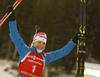 Winner Kaisa Makarainen of Finland celebrates her victory in the women pursuit race of IBU Biathlon World Cup in Pokljuka, Slovenia. Women pursuit race of IBU Biathlon World cup 2018-2019 was held in Pokljuka, Slovenia, on Sunday, 9th of December 2018.