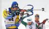 Martin Ponsiluoma of Sweden during zeroing before start of the men pursuit race of IBU Biathlon World Cup in Pokljuka, Slovenia. Men pursuit race of IBU Biathlon World cup 2018-2019 was held in Pokljuka, Slovenia, on Sunday, 9th of December 2018.