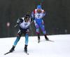 Antonin Guigonnat of France and Alexander Loginov of Russia (R) competing during the men pursuit race of IBU Biathlon World Cup in Pokljuka, Slovenia. Men pursuit race of IBU Biathlon World cup 2018-2019 was held in Pokljuka, Slovenia, on Sunday, 9th of December 2018.