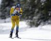 Sebastian Samuelsson of Sweden competes during the men pursuit race of IBU Biathlon World Cup in Pokljuka, Slovenia. Men pursuit race of IBU Biathlon World cup 2018-2019 was held in Pokljuka, Slovenia, on Sunday, 9th of December 2018.