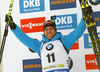 Second placed Quentin Fillon Maillet of France celebrates his medal won in the men pursuit race of IBU Biathlon World Cup in Pokljuka, Slovenia. Men pursuit race of IBU Biathlon World cup 2018-2019 was held in Pokljuka, Slovenia, on Sunday, 9th of December 2018.