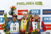 Winner Johannes Thingnes Boe of Norway  (M), second placed Quentin Fillon Maillet of France (L) and  third placed Alexander Loginov of Russia (R) celebrate their medals won in  the men pursuit race of IBU Biathlon World Cup in Pokljuka, Slovenia. Men pursuit race of IBU Biathlon World cup 2018-2019 was held in Pokljuka, Slovenia, on Sunday, 9th of December 2018.