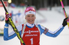 Kaisa Makarainen of Finland celebrating in finished  the women pursuit race of IBU Biathlon World Cup in Pokljuka, Slovenia. Women pursuit race of IBU Biathlon World cup 2018-2019 was held in Pokljuka, Slovenia, on Sunday, 9th of December 2018.