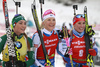 Winner Kaisa Makarainen of Finland (M), second placed Dorothea Wierer of Italy  (L) and  third placed Paulina Fialkova of Slovakia (R) celebrate their medals won in the women pursuit race of IBU Biathlon World Cup in Pokljuka, Slovenia. Women pursuit race of IBU Biathlon World cup 2018-2019 was held in Pokljuka, Slovenia, on Sunday, 9th of December 2018.