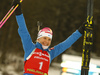 Winner Kaisa Makarainen of Finland celebrates after  the women pursuit race of IBU Biathlon World Cup in Pokljuka, Slovenia. Women pursuit race of IBU Biathlon World cup 2018-2019 was held in Pokljuka, Slovenia, on Sunday, 9th of December 2018.