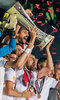 Sevilla Players celebrate with the Trophy Coke (FC Sevilla) during the Final Match of the UEFA Europaleague between FC Liverpool and Sevilla FC at the St. Jakob Park in Basel, Switzerland on 2016/05/18.