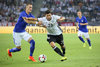 Kevin Volland (GER) and Thomas Lam (FIN) during the International Football Friendly Match between Germany and Finland at the Stadion im Borussia Park in Moenchengladbach, Germany on 2016/08/31.