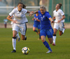 Heden Corrado of Italy and Jenni Kantanen of Finland (R) during UEFA European Women Under-17 Championship match between Finland and Slovenia. UEFA European Women Under-17 Championship match between Finland and Italy was played on Sunday, 29th of October 2017 in Kranj, Slovenia.