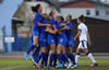 Finnish players celebrating goal for 1-0 lead during UEFA European Women Under-17 Championship match between Finland and Slovenia. UEFA European Women Under-17 Championship match between Finland and Italy was played on Sunday, 29th of October 2017 in Kranj, Slovenia.