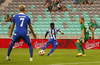 Evans Mensah of HJK Helsinki during third round qualifiers match for Europa League between NK Olympija and HJK Helsinki. Third round qualifiers match for Europa League between NK Olympija and HJK Helsinki was played on Thursday, 9th of August 2018 in Stozice arena in Ljubljana, Slovenia