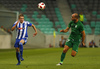 Riku Riski of HJK Helsinki and Aris Zarifovic of Olimpija Ljubljana during third round qualifiers match for Europa League between NK Olympija and HJK Helsinki. Third round qualifiers match for Europa League between NK Olympija and HJK Helsinki was played on Thursday, 9th of August 2018 in Stozice arena in Ljubljana, Slovenia