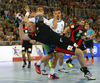 Patrick Wiencek of Germany during EHF European championships qualifications match between Slovenia and Germany. EHF European championships qualifications match between Slovenia and Germany was played on Wednesday, 3rd of May 2017 in Stozice arena in Ljubljana, Slovenia.