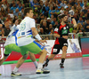 Vid Poteko of Slovenia (L) and Fabian Wiede of Germany during EHF European championships qualifications match between Slovenia and Germany. EHF European championships qualifications match between Slovenia and Germany was played on Wednesday, 3rd of May 2017 in Stozice arena in Ljubljana, Slovenia.