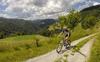 Mountain bikers enjoying sunny Saturday morning in hills above Skofja Loka, Slovenia, on Saturday, 18th of June 2016.