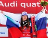 First placed Tina Maze of Slovenia celebrates on podium during the winner presentation after the adies Downhill of FIS Ski World Championships 2015 at the Raptor Course in Beaver Creek, United States on 2015/02/06.
