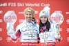 Overall World cup winner Anna Fenninger of Austria and Marcell Hirscher of Austria celebrates with their crystal globes for the Overall World cup during the overall winner Ceremony for the Overall FIS World Cup at the Roc de Fer in Meribel, France on 2015/03/22.