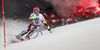 Marco Schwarz of Austria skiing in the first run of the men slalom race of Audi FIS Alpine skiing World cup in Schladming, Austria. Men slalom race of Audi FIS Alpine skiing World cup, The Night race, was held in Schladming, Austria, on Tuesday, 26th of January 2016.