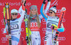 Fabienne Suter of Switzerland (second placeLindsey Vonn of the USA (winner )Viktoria Rebensburg of Germany ( third place) celebrates on Podium of the ladies Downhill of Garmisch FIS Ski Alpine World Cup at the Kandahar in Garmisch Partenkirchen, Germany on 2016/02/06.