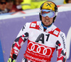 Marcel Hirscher of Austria reacts in finish of the second run of the men giant slalom race of Audi FIS Alpine skiing World cup in Hinterstoder, Austria. Men giant slalom race of Audi FIS Alpine skiing World cup, was held in Hinterstoder, Austria, on Sunday, 28th of February 2016.
