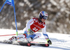 Loic Meillard of Switzerland skiing in the first run of the men giant slalom race of Audi FIS Alpine skiing World cup in Kranjska Gora, Slovenia. Men giant slalom race of Audi FIS Alpine skiing World cup, was held in Kranjska Gora, Slovenia, on Friday, 4th of March 2016.